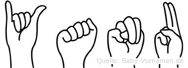 Yanu im Fingeralphabet der Deutschen Gebärdensprache