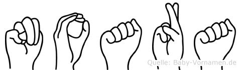 Noara im Fingeralphabet der Deutschen Gebärdensprache
