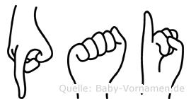 Pai im Fingeralphabet der Deutschen Gebärdensprache