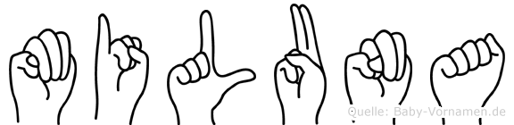 Miluna im Fingeralphabet der Deutschen Gebärdensprache