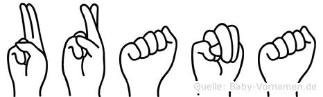 Urana im Fingeralphabet der Deutschen Gebärdensprache