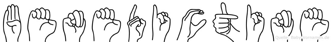 Benedictine im Fingeralphabet der Deutschen Gebärdensprache