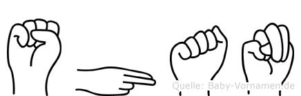 Shan im Fingeralphabet der Deutschen Gebärdensprache