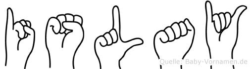 Islay im Fingeralphabet der Deutschen Gebärdensprache