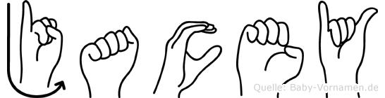 Jacey im Fingeralphabet der Deutschen Gebärdensprache