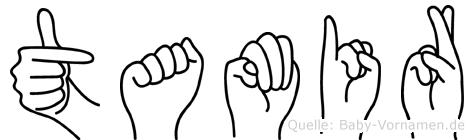 Tamir im Fingeralphabet der Deutschen Gebärdensprache