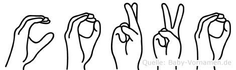 Corvo im Fingeralphabet der Deutschen Gebärdensprache