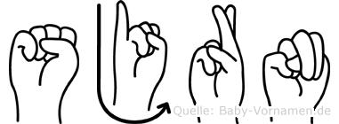 Sjörn im Fingeralphabet der Deutschen Gebärdensprache
