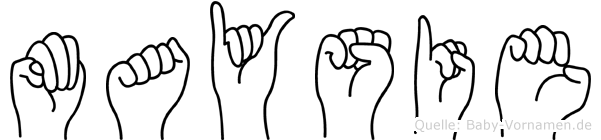 Maysie im Fingeralphabet der Deutschen Gebärdensprache