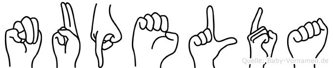 Nupelda im Fingeralphabet der Deutschen Gebärdensprache