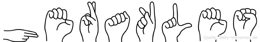Herakles im Fingeralphabet der Deutschen Gebärdensprache