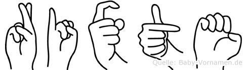 Rixte im Fingeralphabet der Deutschen Gebärdensprache