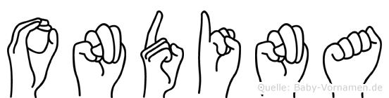 Ondina im Fingeralphabet der Deutschen Gebärdensprache