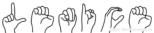 Lenice im Fingeralphabet der Deutschen Gebärdensprache