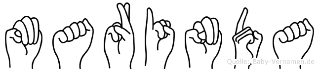 Marinda im Fingeralphabet der Deutschen Gebärdensprache