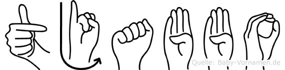 Tjabbo im Fingeralphabet der Deutschen Gebärdensprache