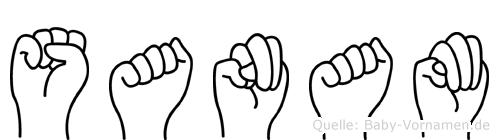 Sanam im Fingeralphabet der Deutschen Gebärdensprache