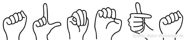 Almeta im Fingeralphabet der Deutschen Gebärdensprache