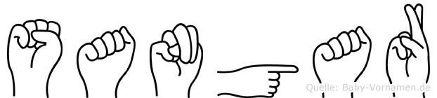 Sangar im Fingeralphabet der Deutschen Gebärdensprache