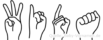 Wida im Fingeralphabet der Deutschen Gebärdensprache