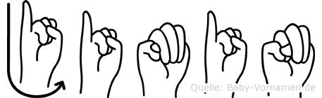 Jimin im Fingeralphabet der Deutschen Gebärdensprache