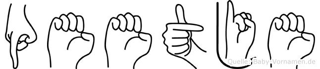 Peetje im Fingeralphabet der Deutschen Gebärdensprache