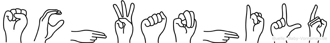 Schwanhild im Fingeralphabet der Deutschen Gebärdensprache