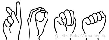 Kona im Fingeralphabet der Deutschen Gebärdensprache