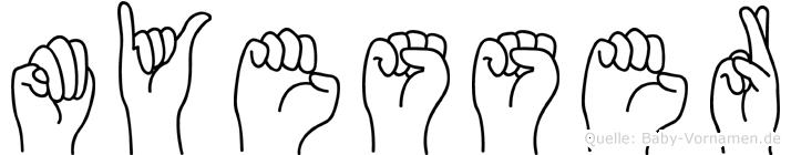Müyesser im Fingeralphabet der Deutschen Gebärdensprache