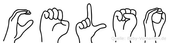 Celso im Fingeralphabet der Deutschen Gebärdensprache