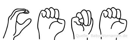 Cene im Fingeralphabet der Deutschen Gebärdensprache