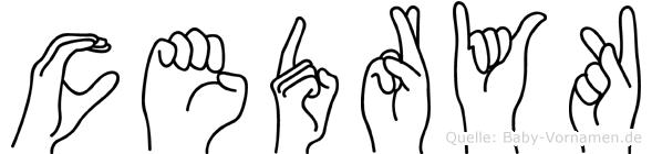 Cedryk im Fingeralphabet der Deutschen Gebärdensprache