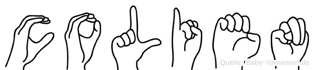 Colien im Fingeralphabet der Deutschen Gebärdensprache