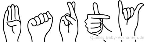 Barty im Fingeralphabet der Deutschen Gebärdensprache