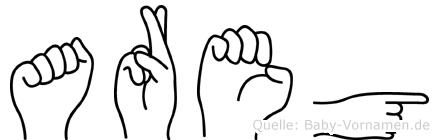 Areg im Fingeralphabet der Deutschen Gebärdensprache