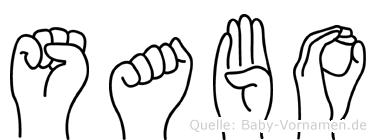 Sabo im Fingeralphabet der Deutschen Gebärdensprache