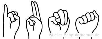 Iuna im Fingeralphabet der Deutschen Gebärdensprache