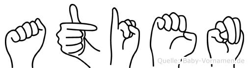Atien im Fingeralphabet der Deutschen Gebärdensprache