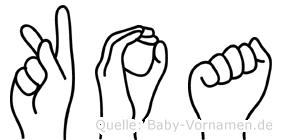Koa im Fingeralphabet der Deutschen Gebärdensprache
