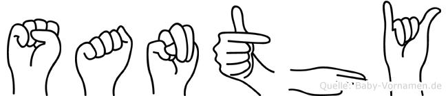 Santhy im Fingeralphabet der Deutschen Gebärdensprache