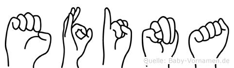 Efina in Fingersprache für Gehörlose