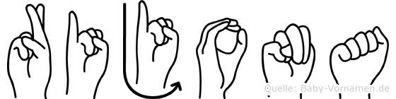 Rijona im Fingeralphabet der Deutschen Gebärdensprache