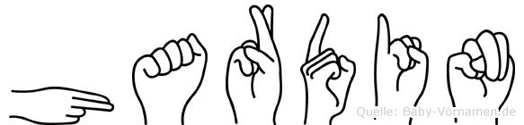 Hardin im Fingeralphabet der Deutschen Gebärdensprache