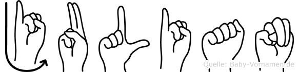 Julian in Fingersprache für Gehörlose