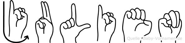 Julien im Fingeralphabet der Deutschen Gebärdensprache