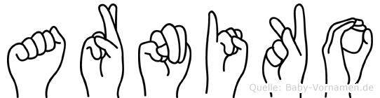 Arniko im Fingeralphabet der Deutschen Gebärdensprache