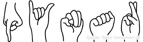 Pynar im Fingeralphabet der Deutschen Gebärdensprache