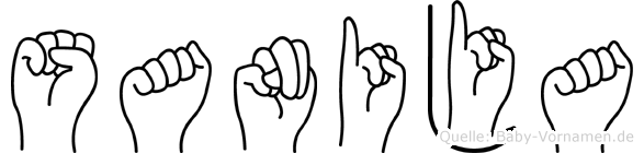 Sanija im Fingeralphabet der Deutschen Gebärdensprache