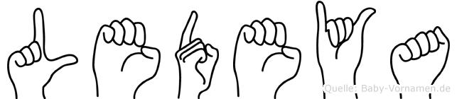 Ledeya im Fingeralphabet der Deutschen Gebärdensprache