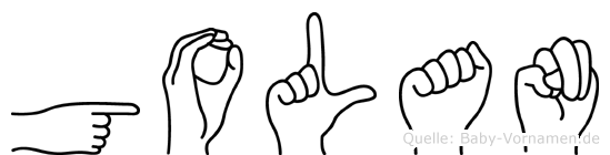 Golan im Fingeralphabet der Deutschen Gebärdensprache